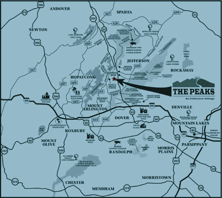 Area map - The Peaks in Jefferson Twp